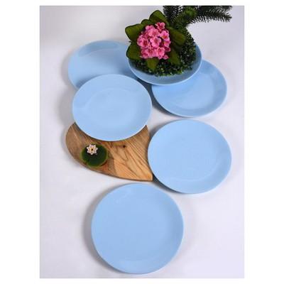 Keramika 6 Adet Servıs Tabağı Ege 25 Cm Buz Mavısı Tabak