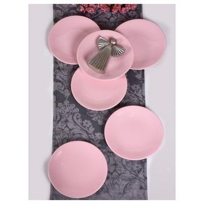 Keramika 6 Adet Servıs Tabağı Ege 25 Cm Acık Pembe Tabak