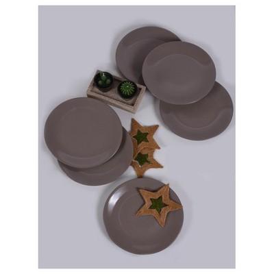 Keramika 6 Adet Servıs Tabağı 25 Cm Acık Taupe Tabak
