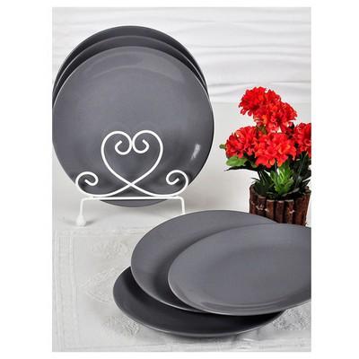 Keramika 6 Adet Servıs Tabağı Ege 25 Cm Grı Tabak