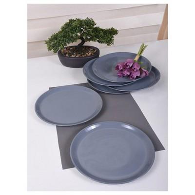Keramika 6 Adet Servıs Tabagı Hıtıt 25 Cm Grı Tabak
