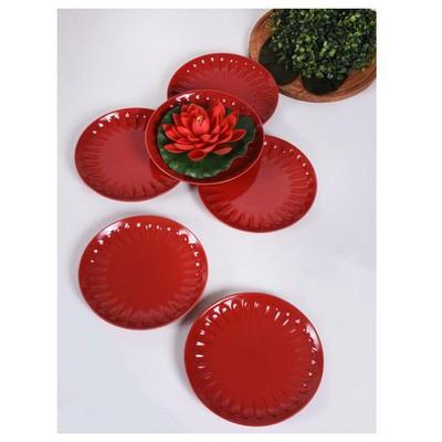 Keramika 6 Adet Pasta Tabagı Badem 21 Cm Kırmızı Tabak