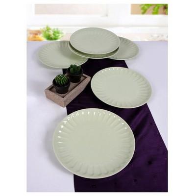 Keramika 6 Adet Servıs Tabagı Badem 27 Cm Nıl Yesılı Tabak