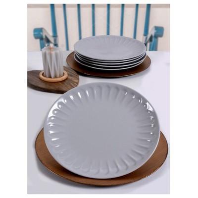 Keramika 6 Adet Servıs Tabagı Badem 27 Cm Grı Tabak