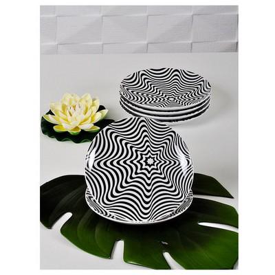 Keramika 6 Adet Pasta Tabağı 21 Cm Alfa Ilızyon Mıdye Tabak