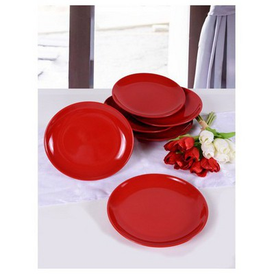Keramika 6 Adet Pasta Tabağı 21 Cm Alfa Kırmızı Bayrak Tabak