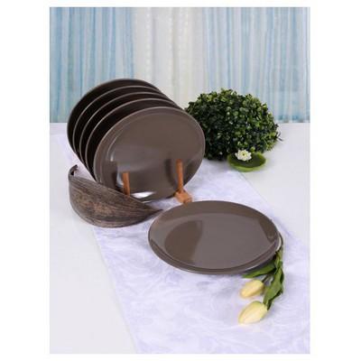 Keramika 6 Adet Pasta Tabağı 21 Cm Alfa Taupe Tabak