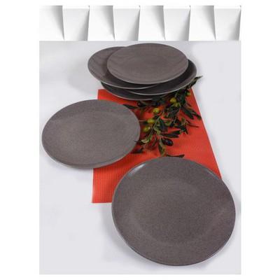 Keramika 6 Adet Servıs Tabağı 27 Cm Alfa Acık Taupe Granıt Tabak