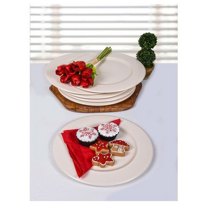 Keramika 6 Adet Incı Servıs Tabagı 28 Cm Mat Seffaf Tabak