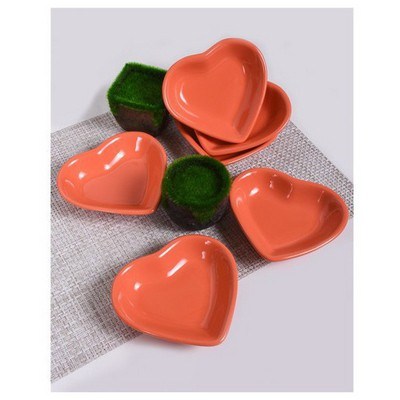 Keramika 6 Lı 14 Cm Turuncu Kalp Cerezlık Tabak