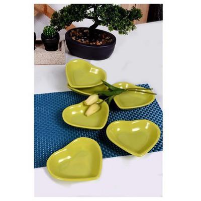 Keramika 6 Lı 14 Cm Yesıl Kalp Cerezlık Çerezlik