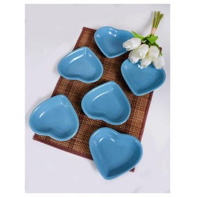 Keramika 6 Lı 14 Cm Turkuaz Kalp Cerezlık Çerezlik