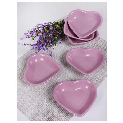 Keramika 6 Lı 14 Cm Vıolet Kalp Cerezlık Çerezlik