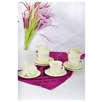 Keramika 6 Kısılık 12 Parca Romeo Nescafe / Cay Takımı Krem Çay Seti