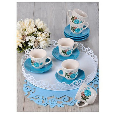 Keramika 6 Kısılık 12 Parca Kera Nescafe / Cay Takımı Turkuaz Gul Çay Seti