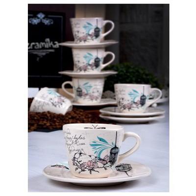 Keramika 6 Kısılık 12 Parca Yedı Tepe Nescafe / Cay Takımı Retro Çay Seti