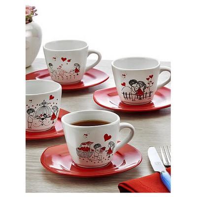 Keramika 6 Kısılık 12 Parca Yedı Tepe Nescafe / Cay Takımı Kera Mıra Çay Seti