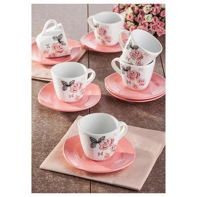 Keramika 6 Kısılık 12 Parca Gül Trend Yedi Tepe Nescafe/çay Takımı Çay Seti