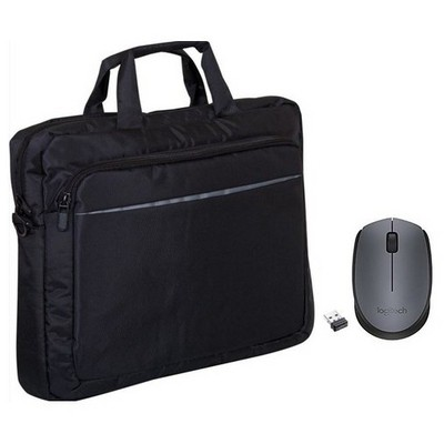 "Logitech M170 Mouse + Premium 15,6"" Siyah Çanta Laptop Çantası"