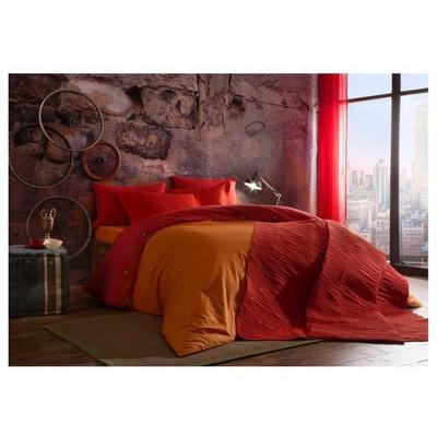 Taç Tek Kişilik Yatak Örtüsü - Linear Kırmızı Ev Tekstili