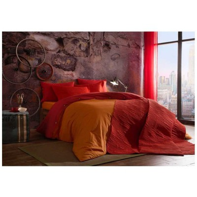 Taç Çift Kişilik Yatak Örtüsü - Linear Kırmızı Ev Tekstili