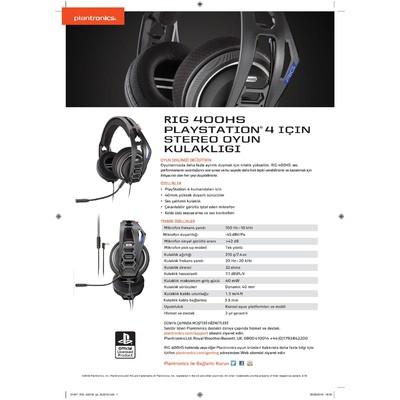 Plantronics 206808-05 Plantronics Rıg 400hs Ps4/pc Oyuncu Kulaklığı Kafa Bantlı Kulaklık
