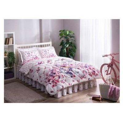Taç Saten Uyku Seti Çift Kişilik - Vincent Fuşya Uyku Setleri