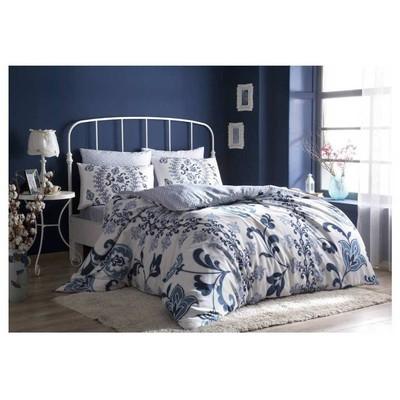 Taç Saten Uyku Seti Çift Kişilik - Luciana Lacivert Ev Tekstili