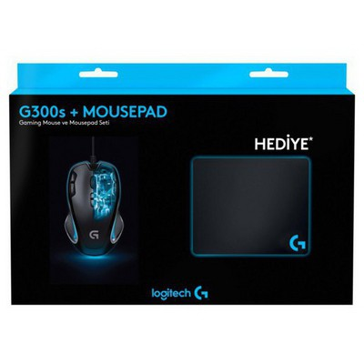 Logitech G300S Gaming Mouse + Pad + Sticker + Bardak Altlığı