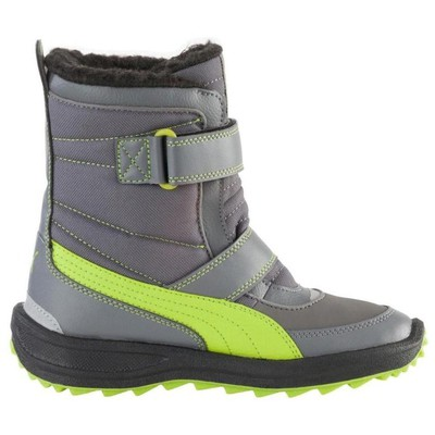 Puma 25538 Cooled Boot Kids Steel Gray-lime Green 304626-01