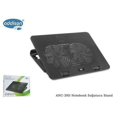 """Addison Anc-39d 14 Cm Mor Işıklı Fan 15.6"""" 2* Usb Cıkıslı Siyah Soğutucu Stand"""