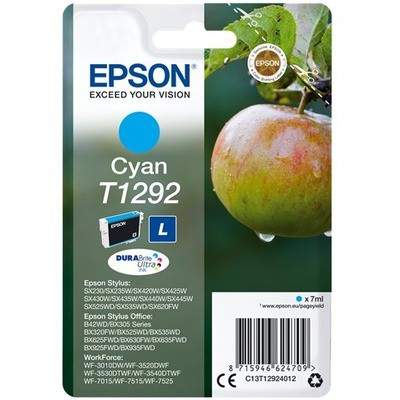 Epson C13t12924022 Cyan-l 7 Ml-l 500sf-b42wd-bx305f-bx320-bx525-bx625 7 Ml-l