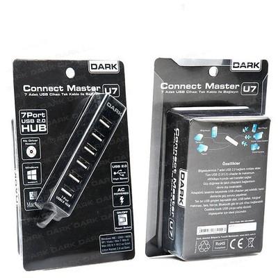 Dark Dk-ac-usb27 7 Port Usb 2.0 Hub, Adaptörlü Çoklayıcı