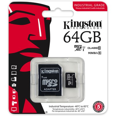 Kingston 64GB Industrial Temperature UHS-I microSD (SDCIT/64GB)