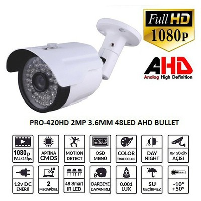 Balandi Pro-420hd 2mp 3.6mm 48 Led Ahd Bullet Kamera Güvenlik Kamerası