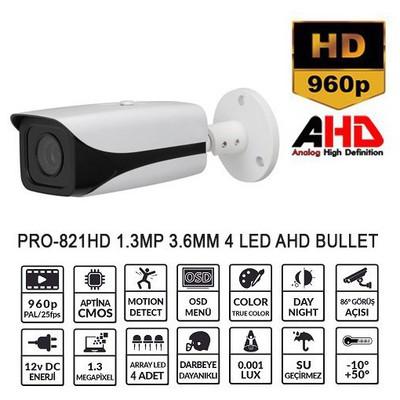 Balandi Pro-821hd 1.3mp 3.6mm 4 Led Ahd Bullet Kamera Güvenlik Kamerası