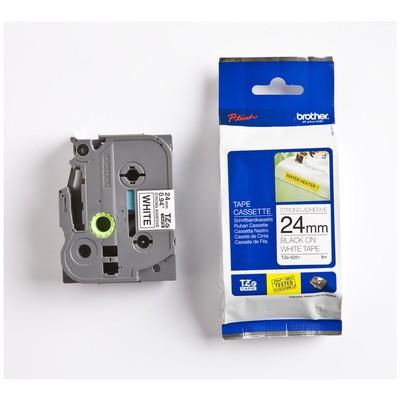 Brother P-touch Tze-s251 Tze-tape 24mm Beyaz Üzerine Siyah Güçlü Yapışkanlı Laminasyonlu Etiket