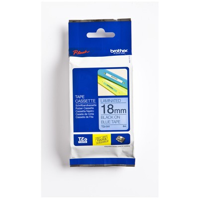 Brother P-touch Tze-541 Tze-tape 18 Mm Mavi Üzerine Siyah Laminasyonlu Etiket