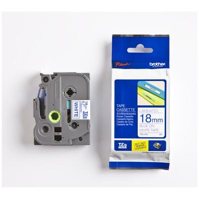 Brother P-touch Tze-243 Tze-tape 18 Mm Beyaz Üzerine Mavi Laminasyonlu Etiket