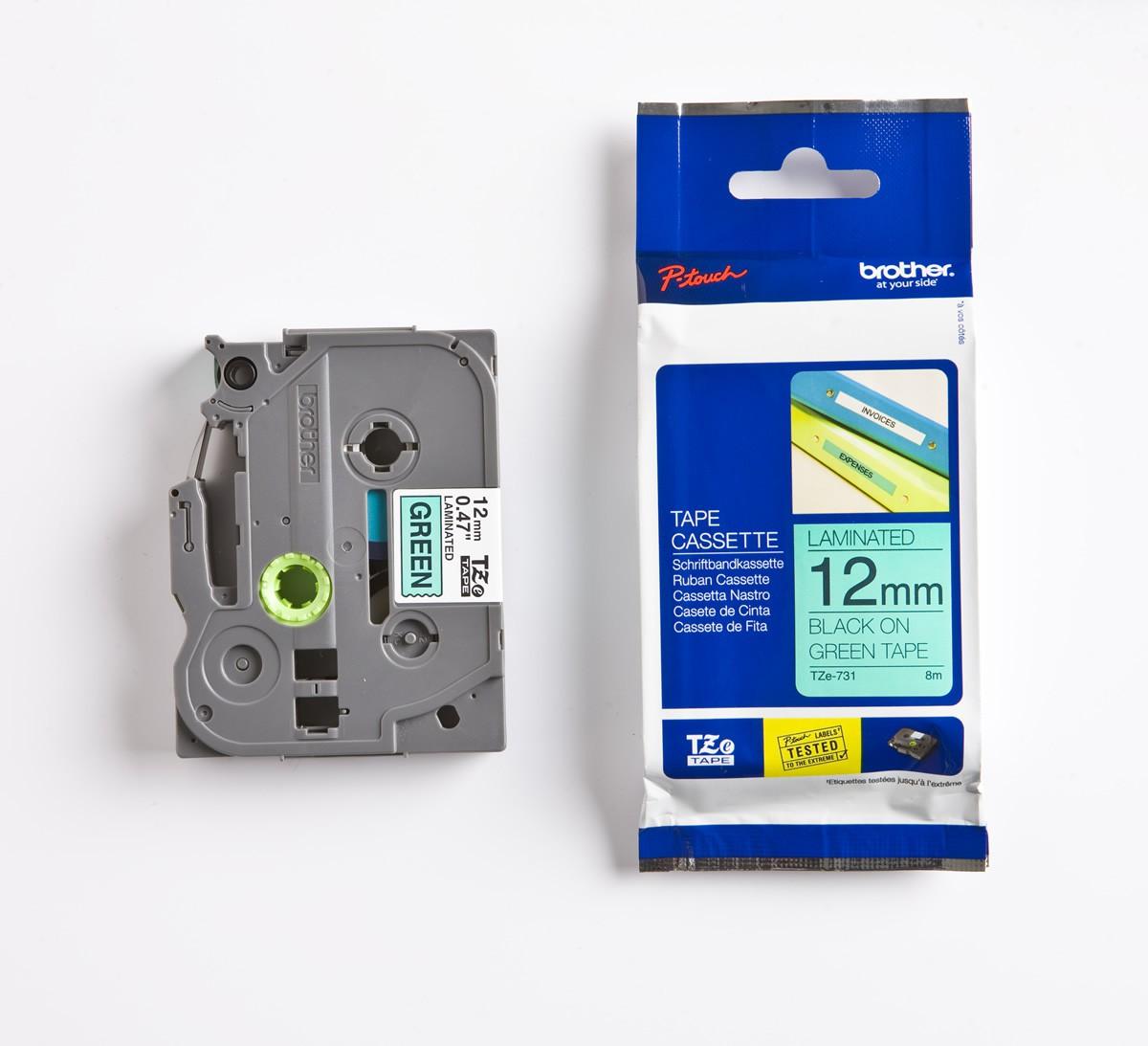 Brother P-touch Tze-731 Tze-tape 12mm Yeşil Üzerine Siyah Laminasyonlu Etiket