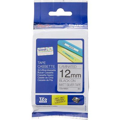 Brother P-touch Tze-m931 Tze-tape 12mm Mat Gümüş Üzerine Siyah Laminasyonlu Etiket