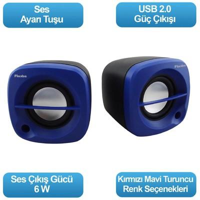 Flaxes Flx-024m Flx-024m Usb 6 Watt 3w*2 1+1 Siyah Mavi Speaker