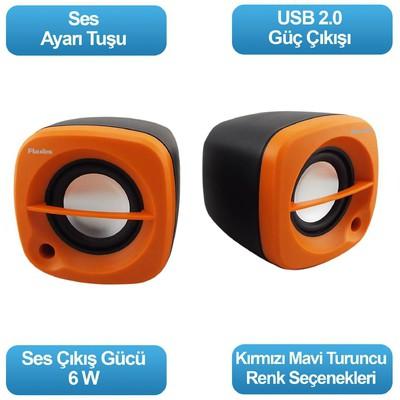 Flaxes Flx-024t Flx-024t Usb 6 Watt 3w*2 1+1 Siyah Turuncu Speaker