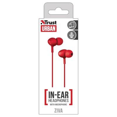 Trust Urban Ziva Kulakiçi Mikrofonlu Kulaklık Kırmızı Kulak İçi Kulaklık