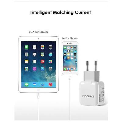 JOYROOM 6956116749705 Joyroom L-l216 2.4a Çift Usb Şarj Adaptörü Beyaz Şarj Cihazları