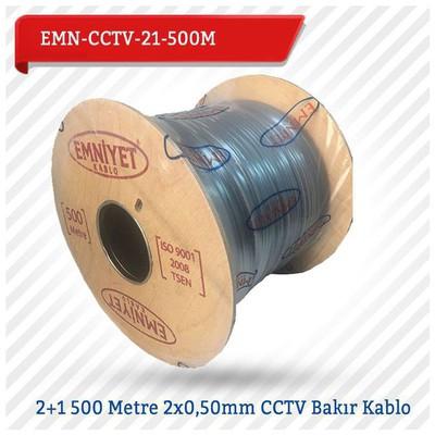 EMNIYET Emn-cctv-21-500m 2+1 500 Metre 2x0,50mm Cctv Bakır Kablo Güvenlik Aksesuarları