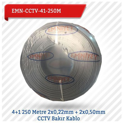 EMNIYET EMN-CCTV-41-250M 4+1 250 Metre 2x022mm + 2x050mm CCTV Bakır 0