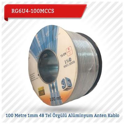 EMNIYET RG6U4-100MCCS 100 Metre 1mm 48 Tel Örgülü Alüminyum Anten Kablo Güvenlik Aksesuarları