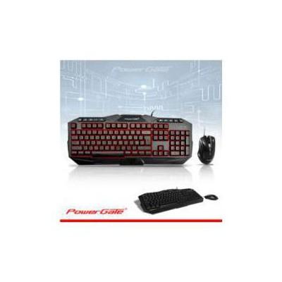 PowerGate PG-KM-A7 POWERGATE KM-A7 Işıklı Klavye + Mouse USB