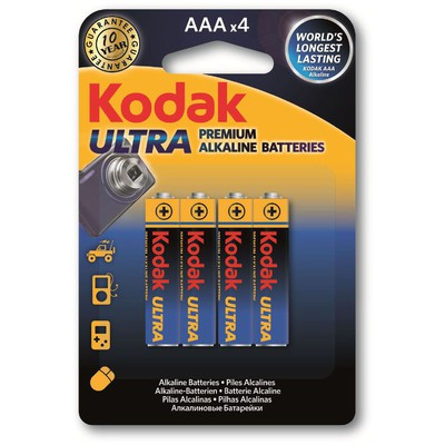 Kodak K3A-4-30959521 4 ADET AAA Ultra Premıum Aalkalin 1,5V İince Pil Pil / Şarj Cihazı
